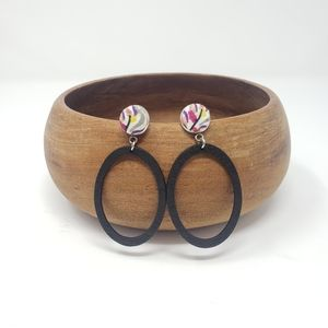 New Handmade | Abstract Wooden Oval Earrings